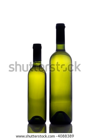 Two wine bottles isolated on white - stock photo