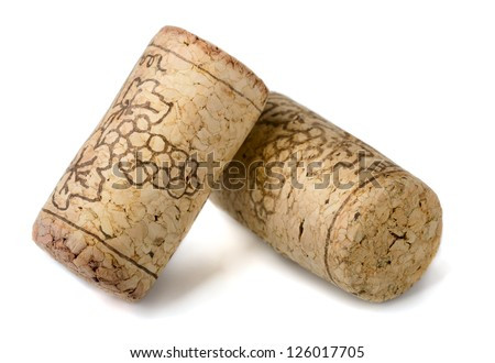 Two wine corks isolated on white - stock photo