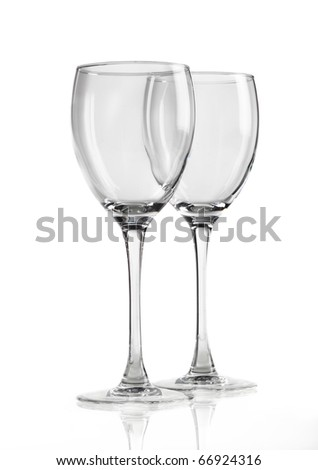 two wine glasses isolated on white background - stock photo