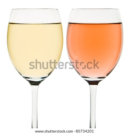 two wine glasses with white and rose wine