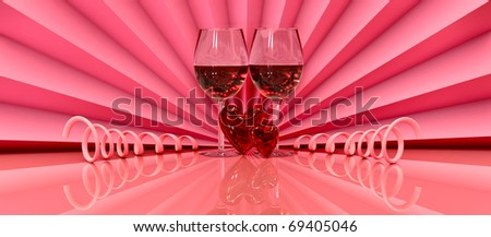 two wineglass with two hearts as symbol love on valentine's day on February, 14th