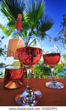 two wineglasses - stock photo