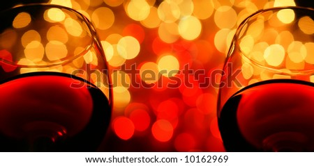 two wineglasses close-up, with copyspace. digital composite - stock photo