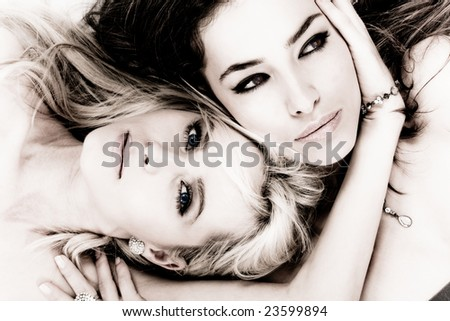 two woman face to face - stock photo