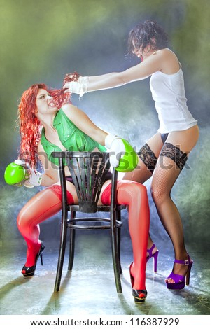 Two woman fighting to death in lingerie. / Woman Ultimate Fight - stock photo