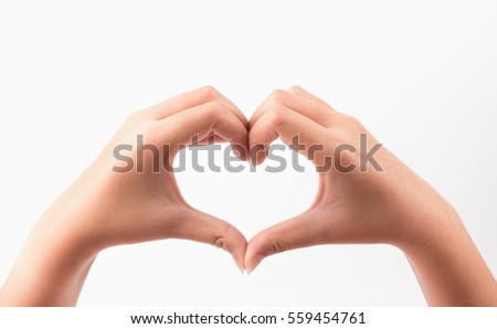 Two woman hand show heart sign isolated on white background.