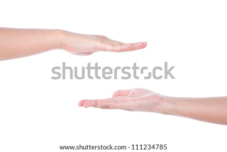 Two woman  hands isolated on white background