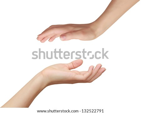 Two woman hands. Protecting and love concept isolated on white background