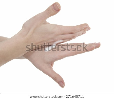 Two woman hands with body cream