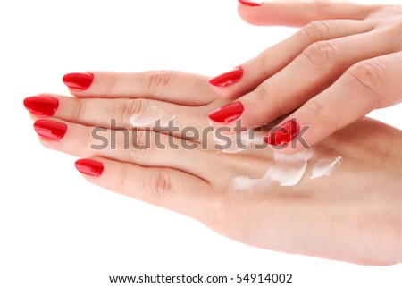 Two woman hands with body cream. Isolated on white