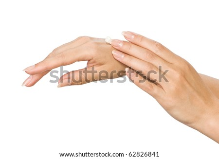 Two woman hands with moisturizer body cream isolated on white - stock photo