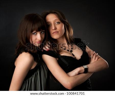 Two woman portrait - stock photo