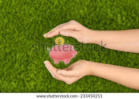 Two Woman's open hands making a protection gesture holding a piggy bank  isolated on green background.Business,money,financial protection. - stock photo