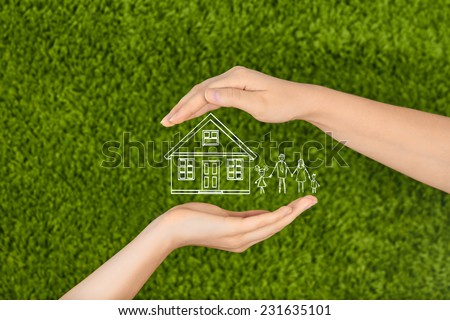 Two Woman's open hands making a protection gesture  isolated on green background.Property insurance and security concept ,Family life insurance, protecting family, family concepts.