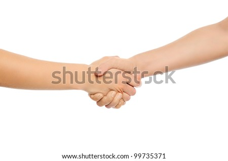 Two woman shaking hands. Isolated on white background. - stock photo