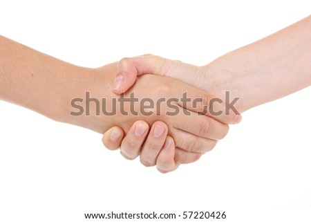 Two woman shaking hands on a white background