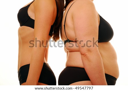 Two woman with different body shapes back to back - stock photo