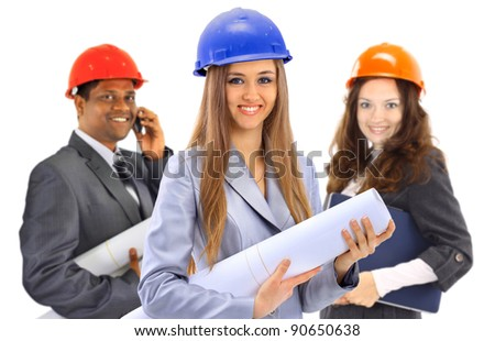 Two women and a man architect team. Isolated on a white background.