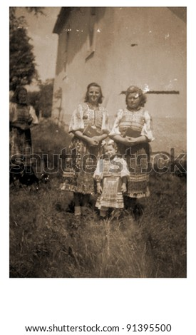 two women and young girl - photo scan - about 1935
