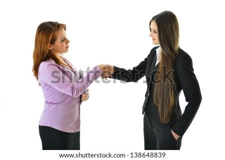Two Women Business Handshake - stock photo