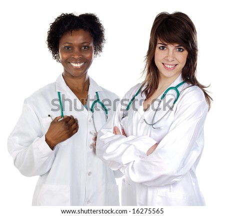 Two women doctor a over white background - stock photo