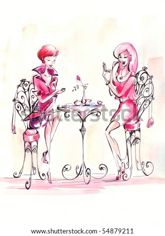 Two women drinking coffee in coffeehouse.Picture I have created myself with watercolors. - stock photo