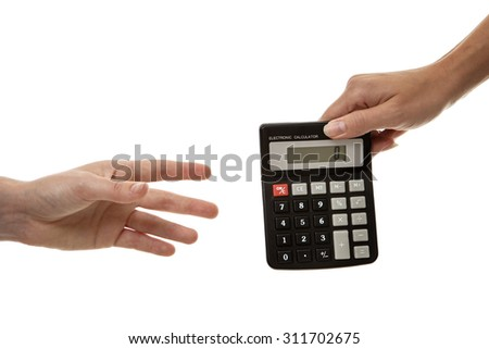 Two women hands passing a calculator between them