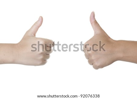 Two women hands showing a ok hand sign - stock photo