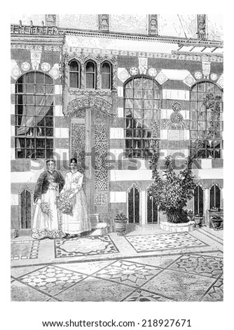 Two Women in a House in Acre, Israel, vintage engraved illustration. Le Tour du Monde, Travel Journal, 1881