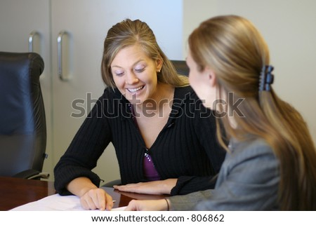 Two women in a meeting - stock photo