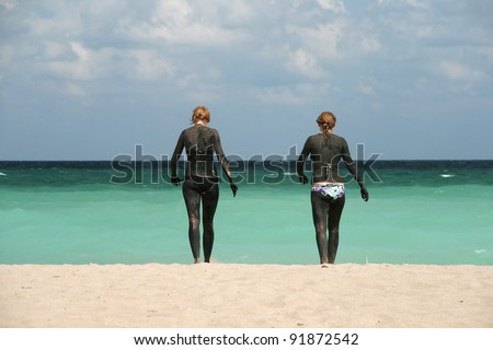 Two women in mud therapy at the Black Sea beach