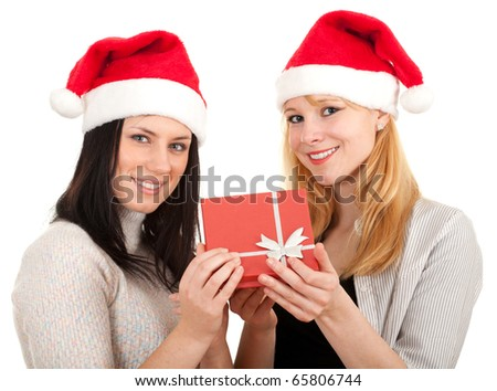 two women in Santa hat keeping red box with grey ribbon