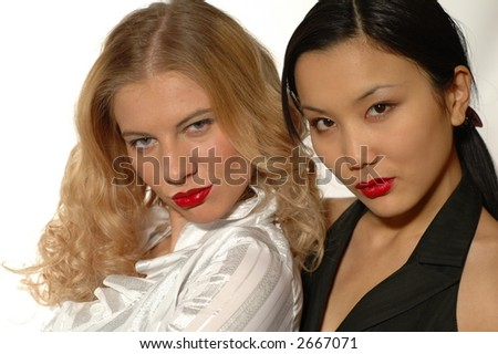 Two women on white background