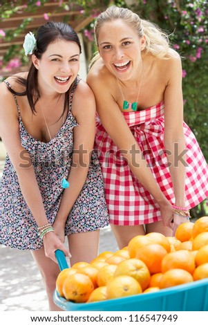 Two Women Pushing Wheelbarrow Filled With Oranges - stock photo
