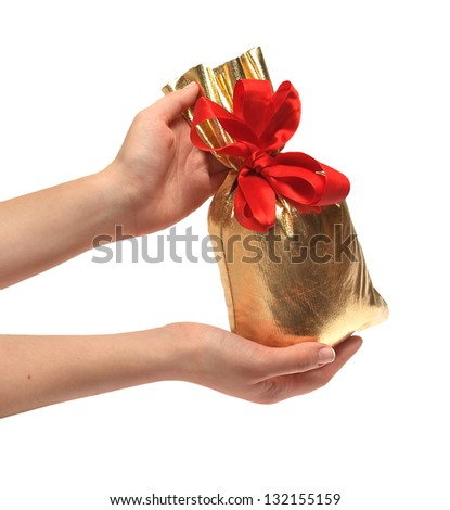 two women's hands are holding a bag of gifts - stock photo