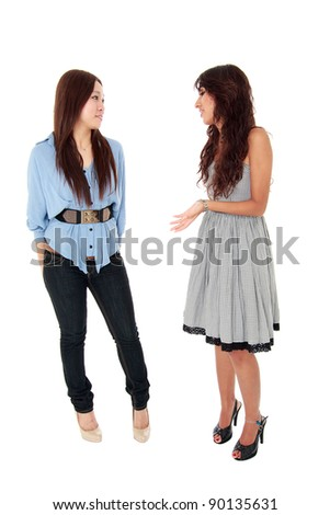 two women student wearing casual chatting with isolated background - stock photo