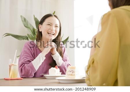 Two women talking while enjoying a cake - stock photo