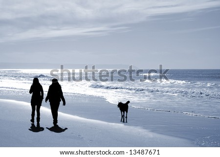 two women walking at the beach in the winter with a dog - stock photo