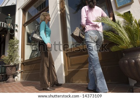 Two women window shopping on a city street - stock photo