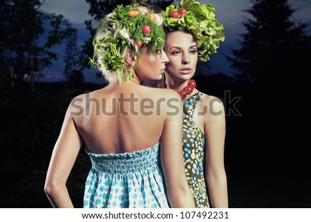 Two women with eco hair style - stock photo
