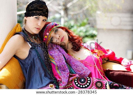 two women with fashionable clothes - stock photo