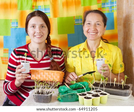 Two women  with  seedling  in her hands - stock photo
