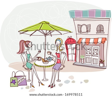 Two women with shopping bags share conversation and tea at an outdoor cafe.