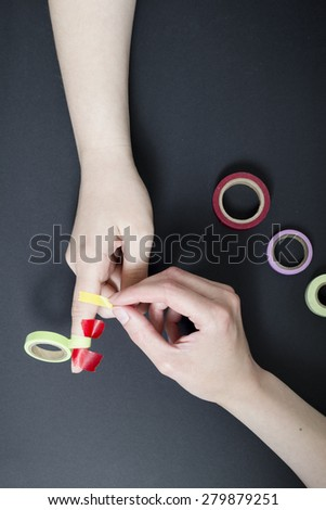 two women with washi-tape - stock photo