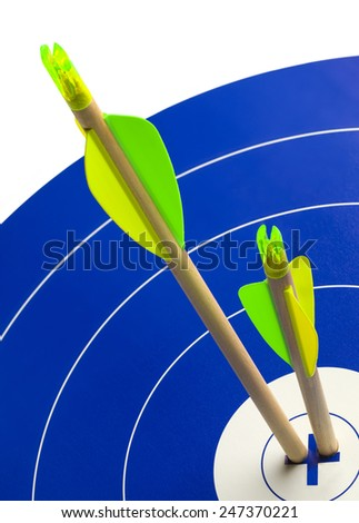 Two Wood Arrows in Center of Blue and White Target. - stock photo
