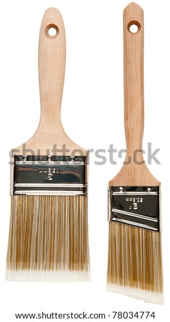Two wood handle paint brushes with clipping paths - stock photo