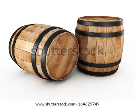 Two wooden barrels on a white background - stock photo