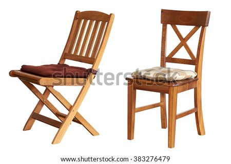 Two wooden chair on an isolated white background.