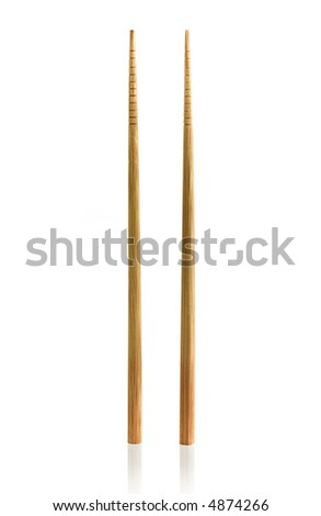 Two wooden chopsticks isolated on white - stock photo
