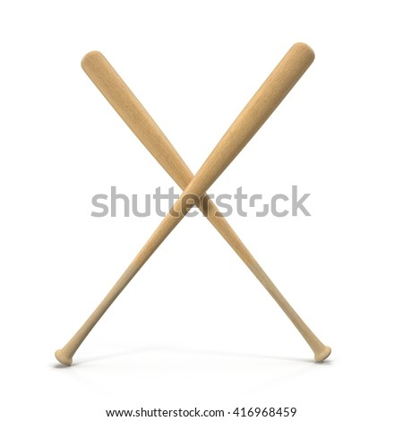 Two Wooden Crossed Baseball Bats isolated on white. 3D illustration
